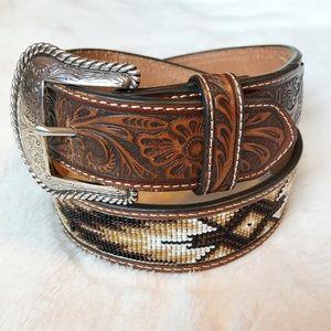 Nocona Beaded Tooled Leather Belt Sz 32